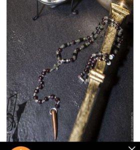 Чётки гранатовые с пиритом ,рогом и серебром 925