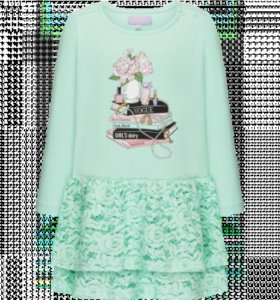Трикотажное платье с кружевом для девочки