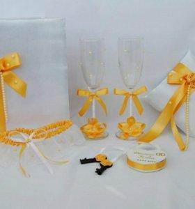 Набор свадебных аксессуаров «Золото»