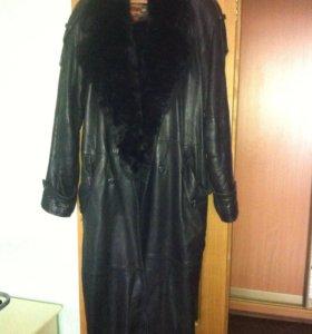 Плащ-пальто кожаный