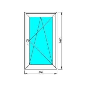 Окно пластиковое ширина 800 высота 1400