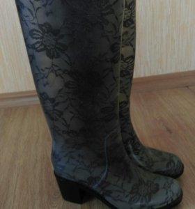 Резиновые сапоги на каблуке