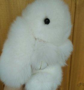 Кролик брелок большой из натурального меха