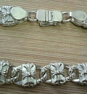 Серебряный браслет, литые звеня, 46.3 грм, 23.0 с