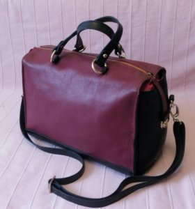 Новая кожаная сумка саквояж бордовая