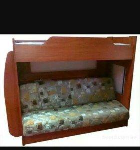 Кровать двухьярусная односпальная, модель Бабочка.