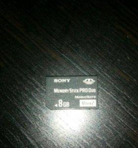 SD Карта для sony PSP (sony stick PRO Duo ) 8GB