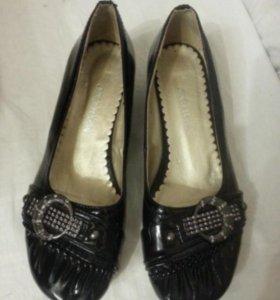 Туфли новые мокасины Jxhren чёрные лакированные