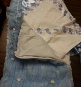 Конверт голубой с уголком для новорожденного