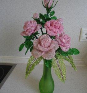 Розы из бисера букет подарок интерьер