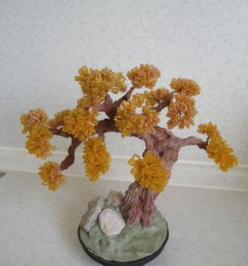 Осеннее золотое дерево бисер подарок интерьер