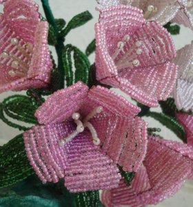 Цветы из бисера подарок интерьер