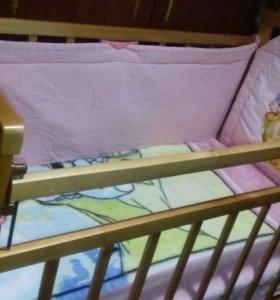 Кроватка-маятник с матрасом и бортиками+коляска