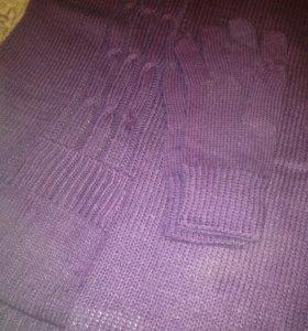 Комплект из шарфа с карманами и вязаные перчатки