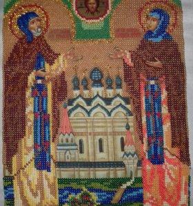 Икона бисером Петр и Феврония