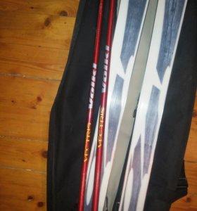 Горнолыжный комплект ботинки+лыжи+палки