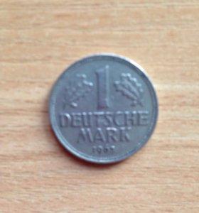 Монета немецкая 1 марка 1963г. G