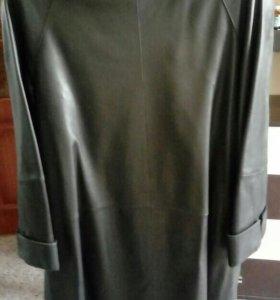 Кожанное пальто с норковым воротником