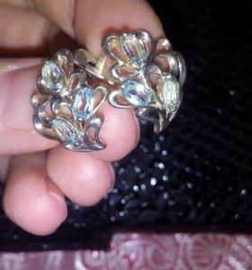 Серьги .серебро +топазы