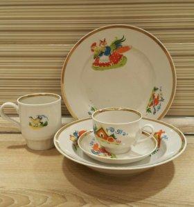 Детский набор посуды Дулево СССР из 5 предметов