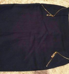 Темно синяя школьная юбка