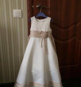 Платье, шубка-накидка, бант на ободке, перчатки