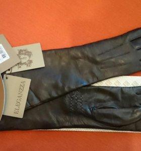 Новые кожаные длинные перчатки Eleganzza.