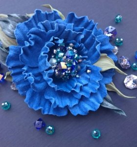 """Брошь-цветок """"Синий Мак"""", ручная работа."""