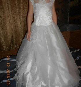 Нарядное белое платье на рост от 115 см и выше