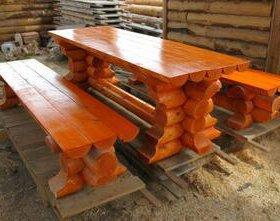Стол и лавки из бревна