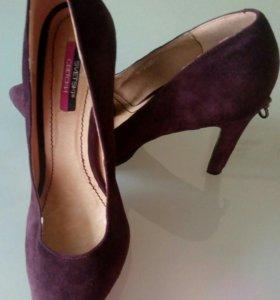 Туфли замшевые,оттенок марсалы