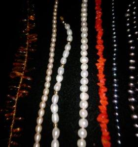 Жемчуг , янтарь , кораллы- ожерелья