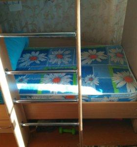 Кровать двухярусная без матрасов