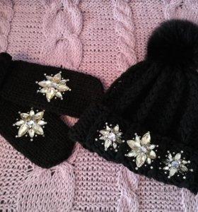 Женский комплект (шапка+варежки)