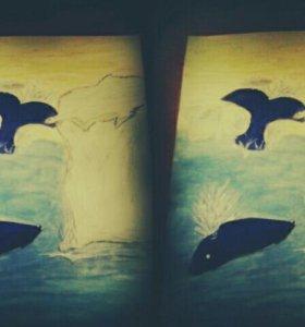 Рисунок арктика и 2 кита