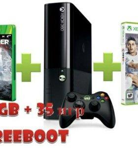 Xbox 360 S или E 250Gb + freeboot + 35 игр