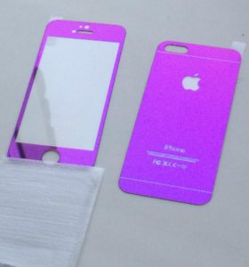 Защитное стекло iPhone 5 розовое