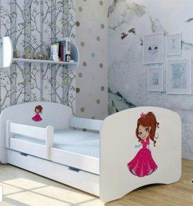 Новая детская кровать с матрасом и ящиком.