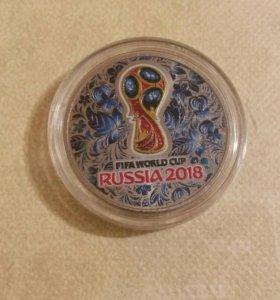 Монета футбол синяя