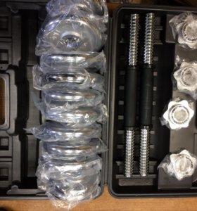 Гантели разборные хромированные в чемодане 15 кг