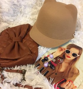 Шляпка с ушками + сумочка