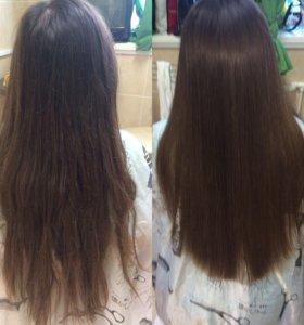Кератиновое выпрямление полировка волос
