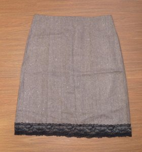 Новая юбка коричневая с кружевом (46 р-р).