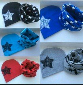 Весенний комплект шапка шарф- снуд