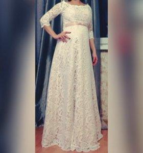 Кружевное свадебное (вечернее) платье. Цвет -пудра