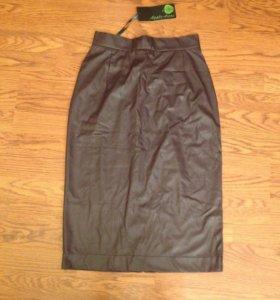 Новая юбка эко кожа цвет слива