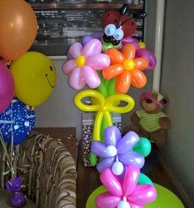 Букет из воздушных шаров с фигурой 🐞