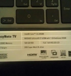 Ноутбук packardbell tv11hc i5,6gb,500gb