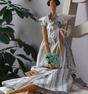 Кукла интерьерная тильда Цветочный ангел