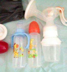 Молокоотсос ручной Medela и бутылочки